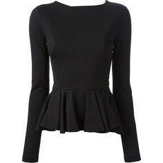 CHALAYAN peplum top ($297) ❤ liked on Polyvore featuring tops, shirts, sweaters, t-shirts, black peplum top, peplum tops, long sleeve tops, long-sleeve peplum top und boat neck shirt