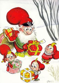 Christmas Elf, Christmas And New Year, Christmas Cards, Mythological Creatures, Winter Solstice, Nordic Style, Elves, Gnomes, Bowser