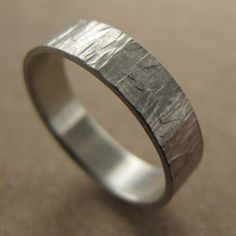 Men's Silver Wood Textured Wedding Ring  Solid by AideMemoire, $60.00 - Yes please! Just in gold!