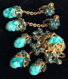 Vintage Miriam Haskell Brooch Earrings Set~Art Glass/Crystals/Gold Tone Filigree #MiriamHaskell
