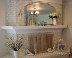 Love the white wood mantle with the white washed brick! cottage instincts: ::About That Fireplace:: White Wash Brick Fireplace, Paint Fireplace, Fireplace Cover, Fireplace Remodel, Fireplace Design, Fireplace Mantels, Mantles, Brick Fireplaces, White Mantle