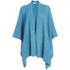 David & Young Dusty Blue Waffle Knit Ruana (24 CAD) ❤ liked on Polyvore featuring outerwear