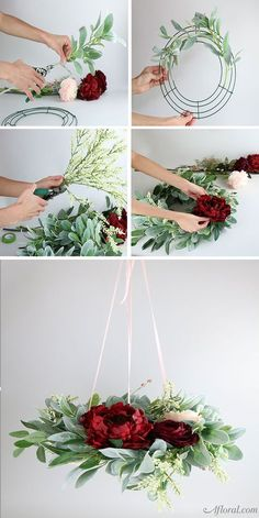 Create this romantic floral chandelier and use it as your hanging wedding centerpiece! Floral arrangements diy How To Make A Floral Chandelier Hanging Centerpiece, Succulent Centerpieces, Wedding Table Centerpieces, Centerpiece Flowers, Centerpiece Ideas, Floral Decorations, Succulent Wreath, Hanging Wedding Decorations, Succulent Ideas