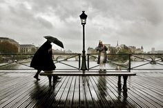 Pont des Arts Paris by Christophe Jacrot Rain Photography, Street Photography, Christophe Jacrot, Image Paris, Nostalgia, Under The Rain, Walking In The Rain, French Photographers, Weird Pictures