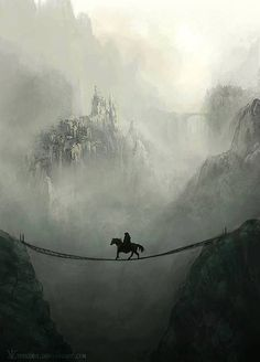 Fantasy horse on a suspended bridge in misty mountains.