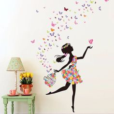 Flower-Girl-Removable-Wall-Art-Sticker-Vinyl-Decal-Kids-Room-Home-Mural-Decor