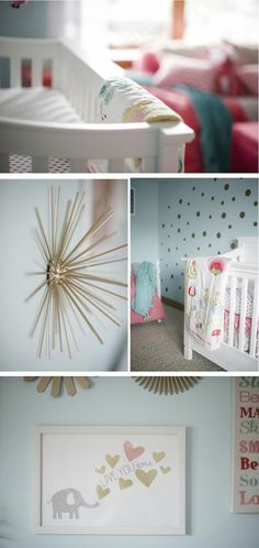 Aqua and Coral Baby Girl Nursery - Project Nursery