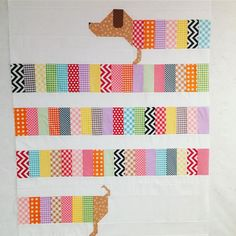 Wiener dog quilt would be a cute pattern for back of a quilt. So cute
