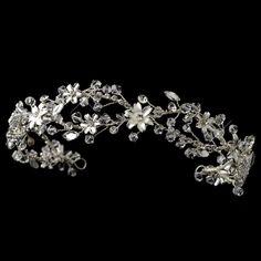 Rhodium Clear Swarovski Crystal Bead & Rhinestone Flexible Floral Headband
