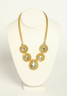 Catch everyone's eyes with this bright and elegant necklace! Features large rhinestones on a lobster clasp chain