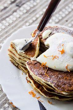 Orange Rosemary Pancakes with Lavender Honey Whipped Cream