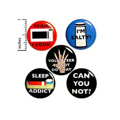 This funny sarcastic button 5 pack makes a great gift for those slackers in your life! These pins are great for backpacks, jackets, or work vests!Size: 1 All buttons have the same pinback closure shown in the picture of the back of the button (stock photo of the back). Thanks for looking and have Funny Buttons, Cool Buttons, Work Jokes, Work Humor, Funny Sarcastic, Sarcastic Quotes, Funny Quotes, Introvert Humor, Bee Gifts