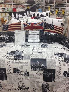 BB&B bed spread, world travel themed.
