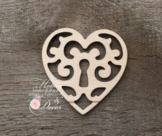 Сердце ажурное с замочной скважиной 8 см, фанера