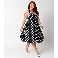 Hell Bunny Plus Size 1950s Black & White Mariam Swing Dress ($74) ❤ liked on Polyvore featuring plus size women's fashion, plus size clothing, plus size dresses, halter swing dress, sweetheart dress, halter dress, black and white plus size dresses and smocked dresses
