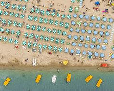 An aerial photograph of the Adriatic coastline between Ravenna and Rimini, Italy. Photographed in August 2014.