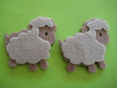 Little Lamb Felt Animal Ornaments for Farm Theme, Baby Shower Favor, Crafting, Christening, Scrapbooking,  Party Favors, 6 pieces