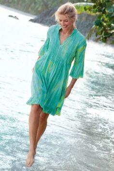 Marbella Dress - Tie Dyed Dress, Mandarin Collar Dress, Crinkled Cotton Dress | Soft Surroundings