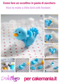 In this tutorial we show you how to create your own beautiful sugarpaste/fondant bluebird; perfect to nestle atop cupcakes or feature as cake toppers! Fondant Cake Toppers, Fondant Figures, Fondant Cakes, Fondant Animals Tutorial, Fondant Tutorial, Cake Decorating Techniques, Cake Decorating Tutorials, Decorating Supplies, Clay Projects