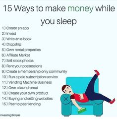 if youre too lazy to start a business then here are some simple ways to get mone…,Finance Wenn du zu. Own Business Ideas, Business Money, Financial Literacy, Financial Tips, Investing Money, Saving Money, Ways To Get Money, Leadership, Startup