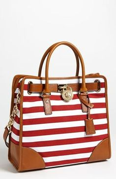 MICHAEL Michael Kors Hamilton Large Canvas Tote...I pinned one in navy...now this one in red:) I am in love kids.