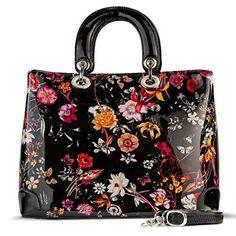 Bravo Handbags, Galina Night Blossom Flower Print Large Leather Handbag