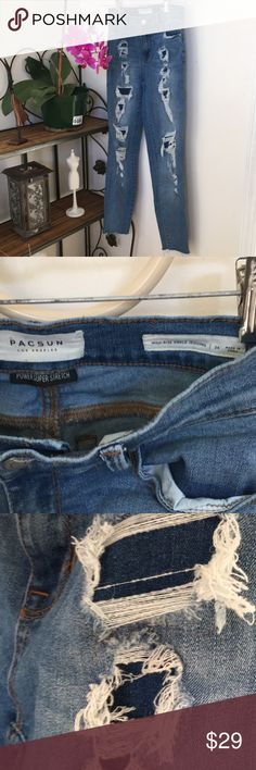 """PACSUN🌸HIGH-RISE ANKLE """"JEGGINGS""""🌸 PACSUN🌟HIgh-Rise Ankle """"Jeggings""""🌟Worn Once, size 24. Photo #3 shows inside jean material where design holes normally show skin. Photo #4 shows bottom area of right leg. Approximate, length 34 1/2""""(from top of waist to bottom of pant.), waistline 12 1/2"""", inseam 25 1/2"""". Material label listed in photo. Not sure what """"jeggings"""" means, bought these for my granddaughter. PacSun Jeans"""