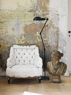 We will be using this type wall treatment for one of our summer projects for a custom backdrop- layers of of peeling paint – lightly sand and seal. I've always wanted a wall like this. – - Welcome My Decor Wabi Sabi, Distressed Walls, Distressed Leather, Bonnie Clyde, Peeling Paint, Plaster Walls, Plaster Wall Texture, Plaster Paint, Wood Walls