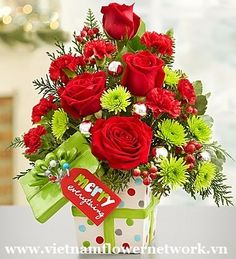 Basket of roses for Christmas