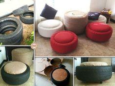 DIY Tire Table and Ottoman