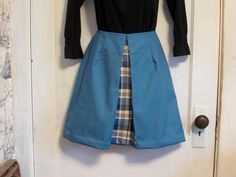 Blue Skirt with Inverted Pleat in Plaid fabric sz 10 by HappyRagz  #craftshout