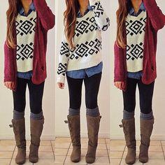 Would you wear? Yes or No? Sweater & socks: @DAILYLOOK | cardi: local | chambray: F21 | boots: Famous Footwear - @rinasenorita- #webstagram