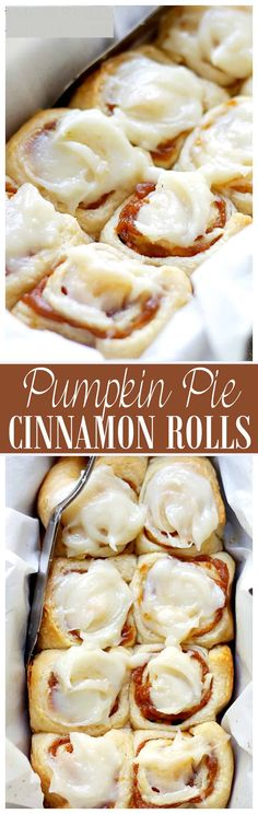 Pumpkin Pie Cinnamon Rolls in 30 minutes! Made with a delicious pumpkin pie fill. Pumpkin Pie Cinnamon Rolls in 30 minutes! Made with a delicious pumpkin pie filling and an incredible pumpkin pie spice cream cheese frosting! These are a Holidays-must! Köstliche Desserts, Delicious Desserts, Dessert Recipes, Yummy Food, Tasty, Cinnamon Desserts, Camping Desserts, Pumpkin Recipes, Fall Recipes