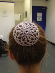 Crocheted bun net. Free pattern from http://www.ravelry.com/patterns/library/ballerina-hair-cover by Yolanda Munoz.