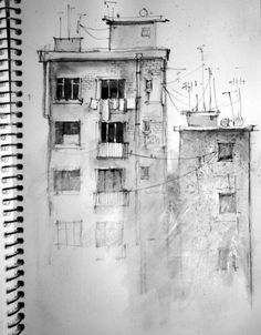 Building with black and white gouache paint, charcoal, and black pen