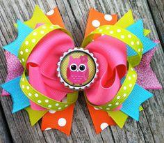 OWL HAIR BOW Spring Summer Hair Bow Stacked by PolkaDotzBowtique, $8.99
