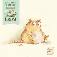 In this quick tutorial I'll show you which brushes I used from The Character Drawing Toolkit to create this cute fat cat drawing! Watercolor Fish, Watercolor Animals, Watercolour, Character Illustration, Graphic Illustration, Character Drawing, Character Design, Cute Fat Cats, Lisa
