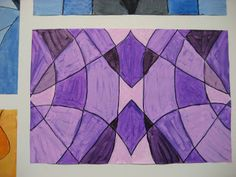 Teach Symmetry and Monochromatic all in one.  Ends up looking like a cool stain glass window.
