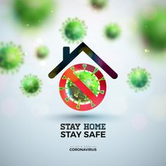 Stay Home. Stop Coronavirus Design with Falling Virus and Abstract House on Light Background. Vector Corona Virus Outbreak Illustration on Dangerous SARS Epidemic Theme for Banner. - Buy this stock vector and explore similar vectors at A Illustration Story, Plots For Sale, Lights Background, Peach Background, Canvas Background, Message Card, Web Application, Image Hd, Stay Safe