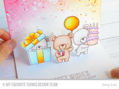 Dreamy pop up bears...inside of card using the Pop Up Elements Narrow Die-namics.