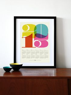 2013 calendar poster print retro vintage kitchen art Mid Century Modern retro office Eames - A3. $24.00, via Etsy.