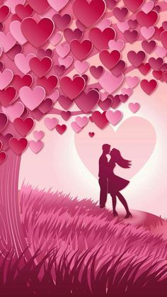 Pink Heart Tree Lovers Wallpaper