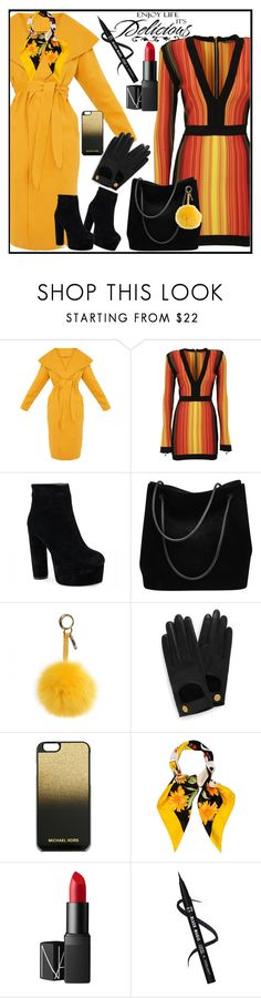 """""""Enjoy life"""" by lindaking67 ❤ liked on Polyvore featuring Balmain, Gucci, Fendi, Mulberry, MICHAEL Michael Kors, Christian Dior, NARS Cosmetics and WALL"""