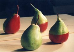 Still Life Picture  Pears in Green & Red by DondiSchwartz on Etsy