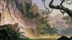 Background art for Walt Disney's 'The Jungle Book' Book Background, Disney Background, Cartoon Background, Animation Background, Disney Kunst, Arte Disney, Disney Art, Jungle Temple, Disney Magazine