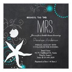 Modern Chalkboard Beach Wedding Bridal Shower Card