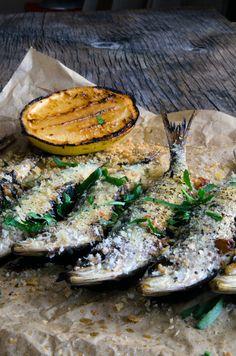baked sardines, kale, pine nuts & raisins
