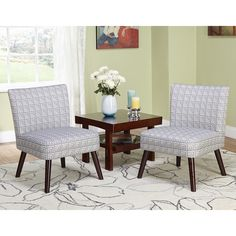 Simple Living Delilah Grey Print Accent Chairs (Set of 2) - Overstock™ Shopping - Great Deals on Simple Living Living Room Chairs