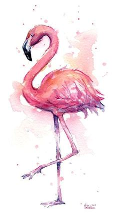 Pink Flamingo Watercolor Tropical Bird Art Print by Olga Shvartsur. All prints are professionally printed packaged and shipped within 3 - 4 business days. Choose from multiple sizes and hundreds of frame and mat options. Flamingo Painting, Flamingo Art, Pink Flamingos, Flamingo Tattoo, Pink Painting, Painting Wallpaper, Pink Flamingo Wallpaper, Flamingo Drawings, Watercolor Wallpaper Iphone