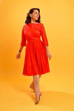 Red 1950's chiffon dress • vintage 50's boatneck dress • long sleeve dress • cocktail dress